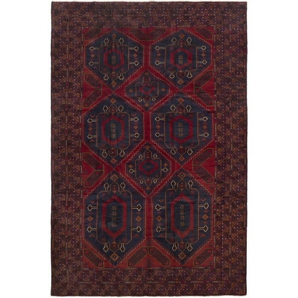 ECARPETGALLERY Hand-knotted Rizbaft Red Wool Rug - 6'4 x 9'10