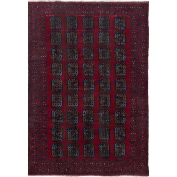ECARPETGALLERY Hand-knotted Teimani Red Wool Rug - 6'4 x 9'3