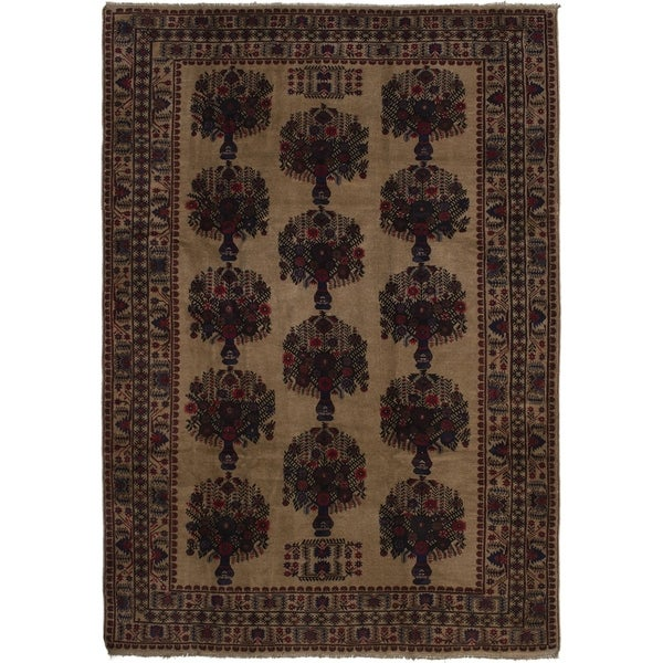 ECARPETGALLERY Hand-knotted Finest Rizbaft Tan Wool Rug - 6'7 x 9'7