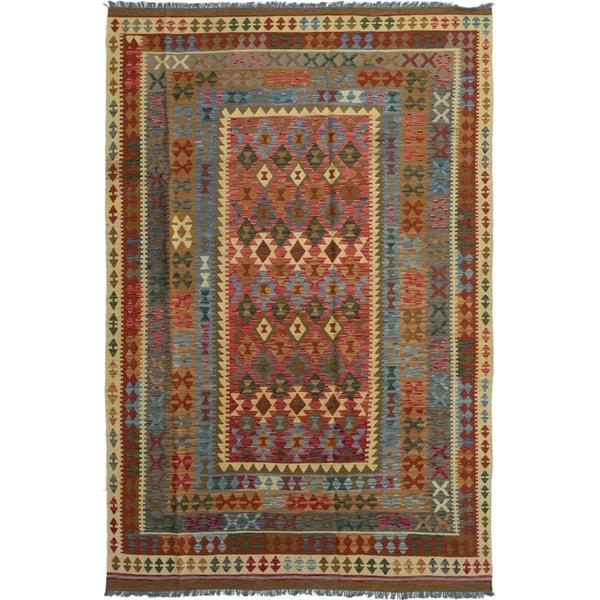 ECARPETGALLERY Flat-weave Hereke FW Red Wool Kilim - 6'9 x 10'2