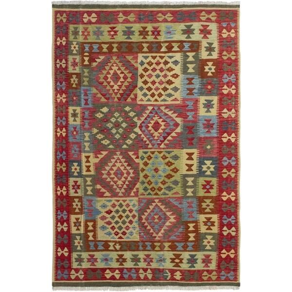 ECARPETGALLERY Flat-weave Hereke FW Red Wool Kilim - 6'3 x 9'10