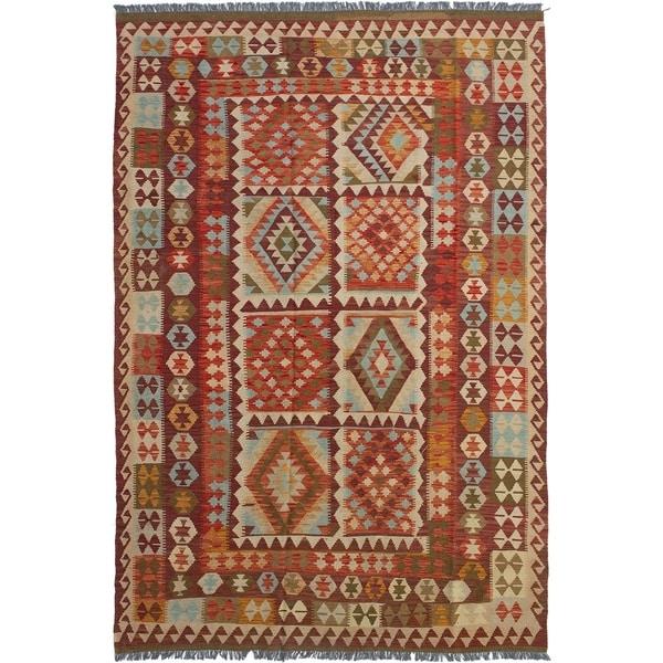 ECARPETGALLERY Flat-weave Hereke FW Red Wool Kilim - 6'11 x 10'5
