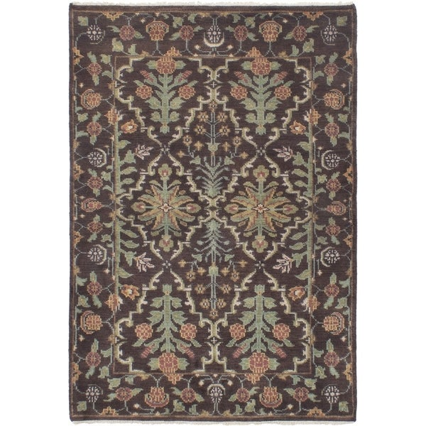 ECARPETGALLERY Hand-knotted Royal Mahal Dark Brown Wool Rug - 4'0 x 6'0