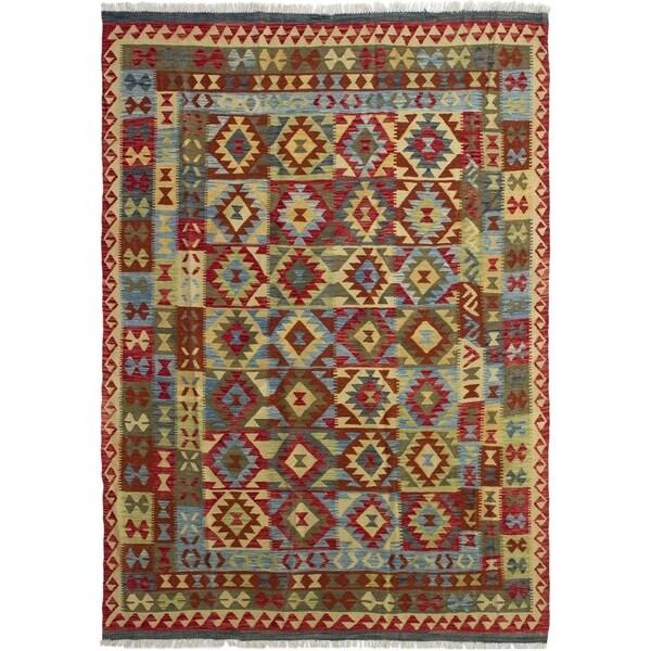 ECARPETGALLERY Flat-weave Hereke FW Red Wool Kilim - 6'8 x 9'7