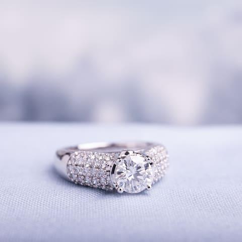 Moissanite by Miadora 14k White Gold Moissanite and 1/2ct TDW Diamond Multi-Row Engagement Ring