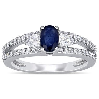 Miadora 14k White Gold Blue Sapphire and 1/2ct TDW Split Shank Engagement Ring