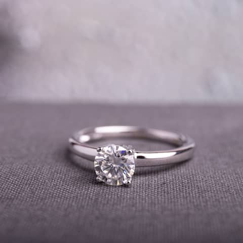 Miadora 4/5ct DEW Moissanite Solitaire Engagement Ring in 14k White Gold