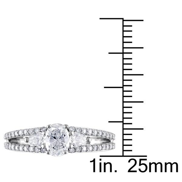 Miadora 1/2ct DEW Moissanite & 1/2ct TDW Diamond 3-Stone Engagement Ring in 14k White Gold