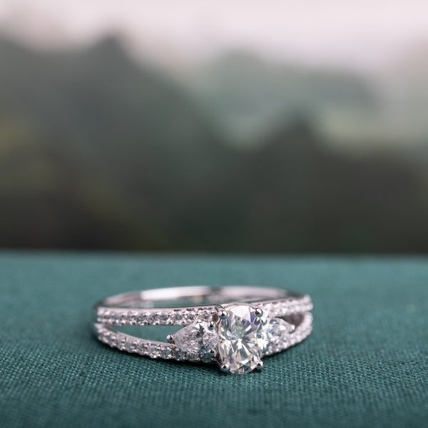 Miadora 1/2ct DEW Moissanite & 1/2ct TDW Diamond 3-Stone Engagement Ring in 14k White Gold. Opens flyout.