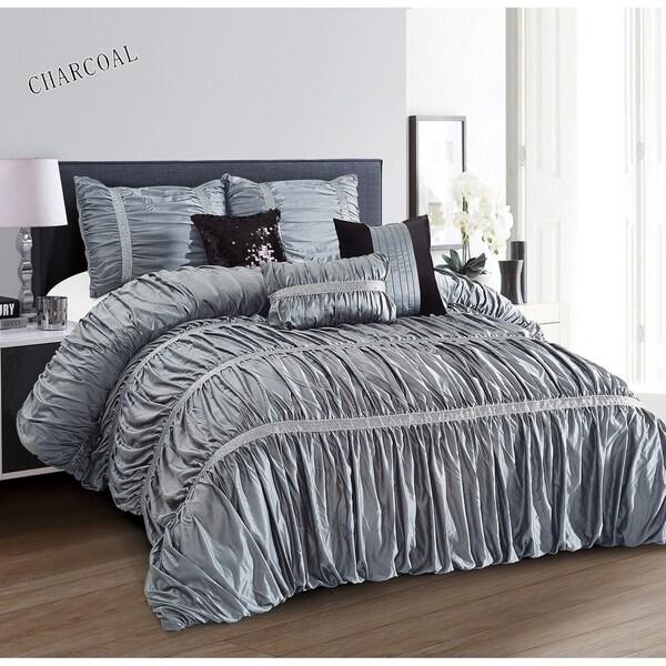Everrouge Sophia All Season Silk 7-pc King Size Charcoal Comforter Set (As Is Item)
