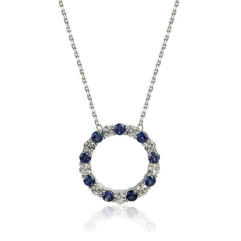 Suzy L. Sterling Silver Sapphire & Diamond Accent Alternating Circle Eternity Necklace