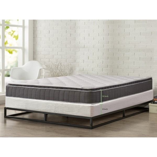"""ONETAN, 10"""" Medium Firm Foam Encased Pillowtop Pocketed Coil Innerspring Mattress, Great For Back, Easy assembly 8"""" Wood Box"""