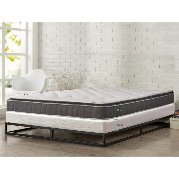 """ONETAN, 10"""" Medium Firm Foam Encased Pillowtop Pocketed Coil Innerspring Mattress, Great For Back, Easy assembly 5"""" Wood Box"""