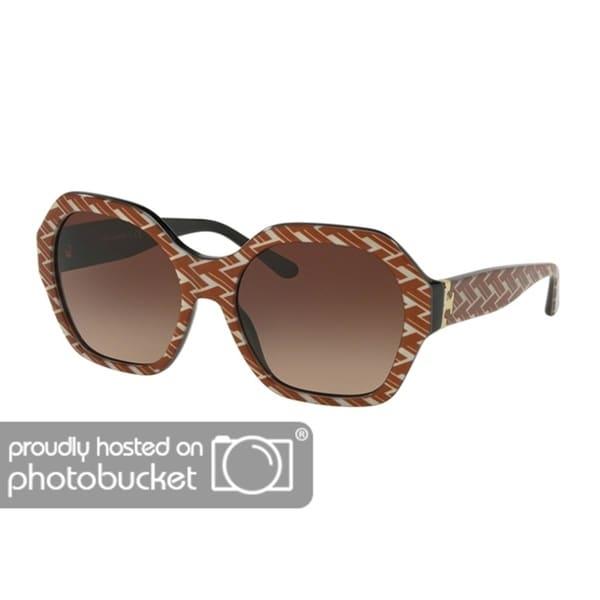 b5f63e0822 Shop Tory Burch Irregular TY7120 Women s ORANGE T PATTERN   BLACK Frame  DARK BROWN GRADIENT Eyeglasses - Free Shipping Today - Overstock - 25490334