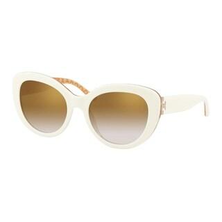 Tory Burch Cat Eye TY7121 Women's IVORY / ORANGE CIRCULAR T PRIN Frame GOLD GRADIENT MIRROR Eyeglasses