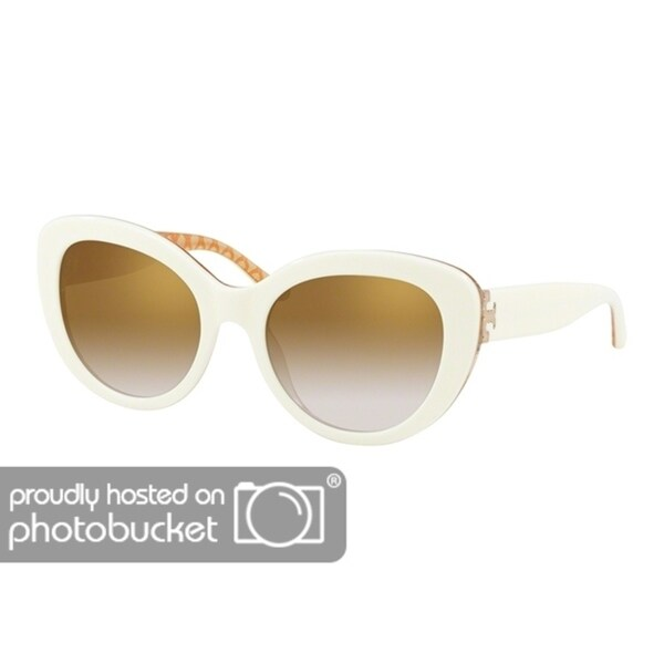 14f4e79e1d Shop Tory Burch Cat Eye TY7121 Women s IVORY   ORANGE CIRCULAR T PRIN Frame  GOLD GRADIENT MIRROR Eyeglasses - Free Shipping Today - Overstock - 25490356