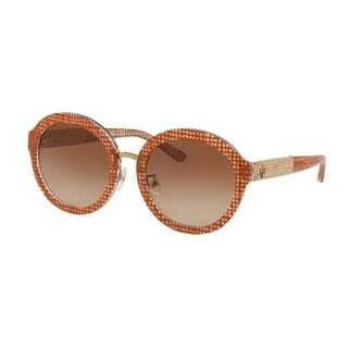 Tory Burch Round TY7128 Women's PAPAYA CRYSTAL ON RAFFIA Frame BROWN GRADIENT DARK BROWN Eyeglasses