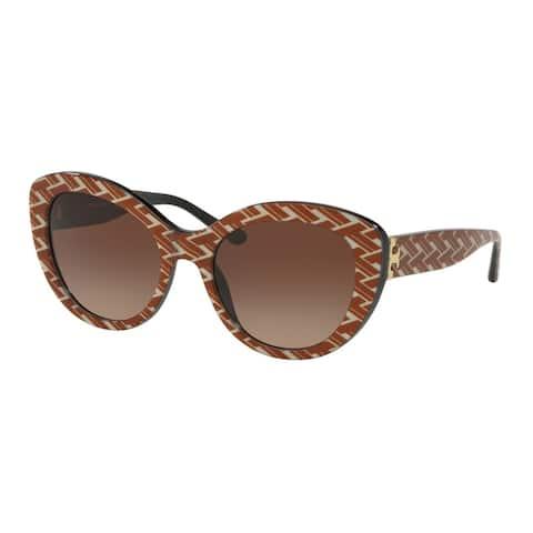 Tory Burch Cat Eye TY7121 Women's ORANGE T PATTERN / BLACK Frame DARK BROWN GRADIENT Eyeglasses