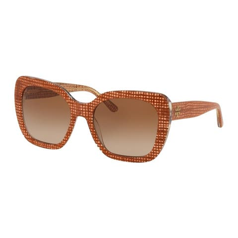 Tory Burch Square TY7127 Women's PAPAYA CRYSTAL ON RAFFIA Frame BROWN GRADIENT DARK BROWN Eyeglasses