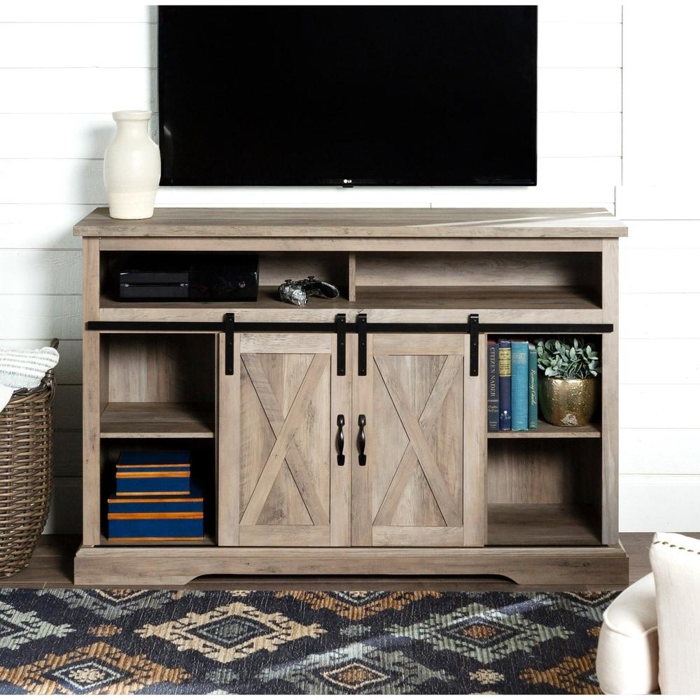 Cream TV Stand Unit Wooden 2 Door TV Cabinet Furniture Cupboard Shelf Storage UK