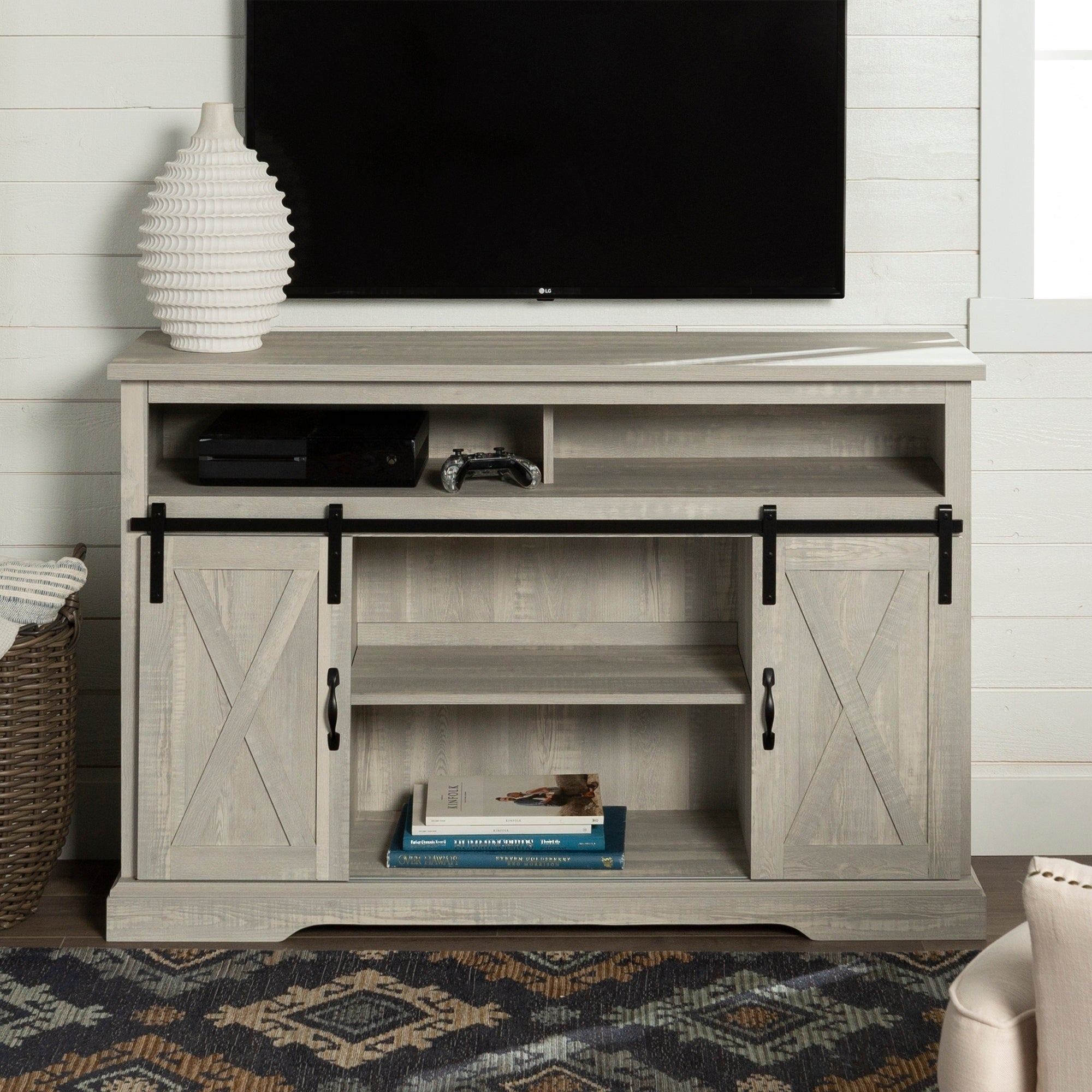 The Gray Barn Wind Gap Sliding Door Tv Stand Console 52 X 16 33h
