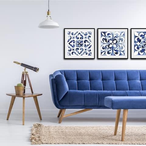 Cobalt Tile VI Framed Print - Blue