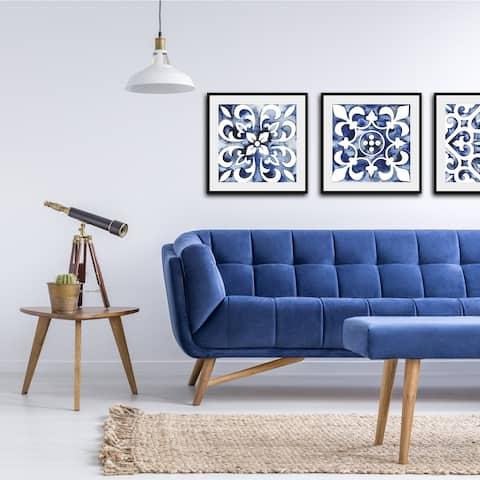 Cobalt Tile III Framed Print - Blue