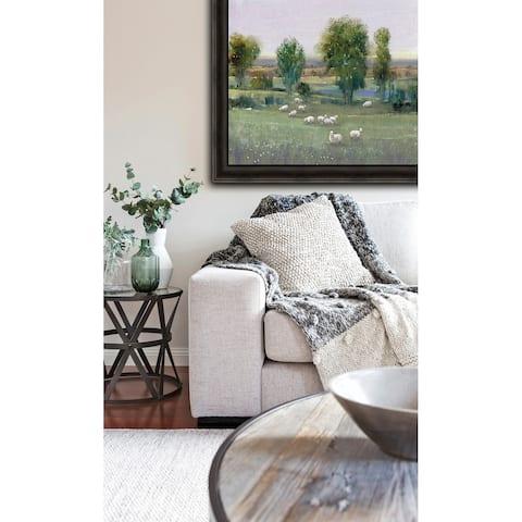 Field of Sheep I Framed Print - Green