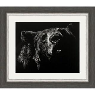 Scratchboard Critic- Bear Framed Print - Black