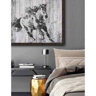 Running Black Horse Framed Print - White