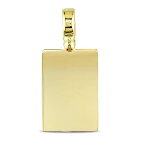 Miadora Signature Collection 18k Yellow Gold Engraveable Rectangular Pendant