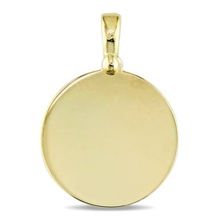 Miadora Signature Collection 18k Yellow Gold Engraveable Round Pendant