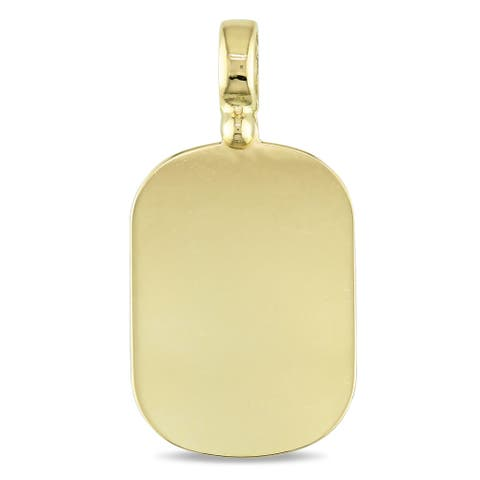 Miadora Signature Collection 18k Yellow Gold Engraveable Squared Oval Pendant