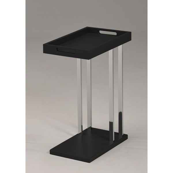K&B Furniture Black Wood and Metal Contemporary Accent Table