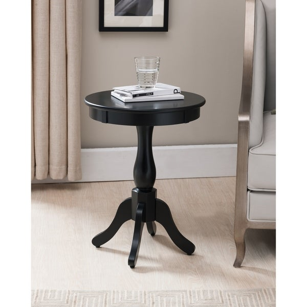 Black Wood Round Transitional Plant Stand