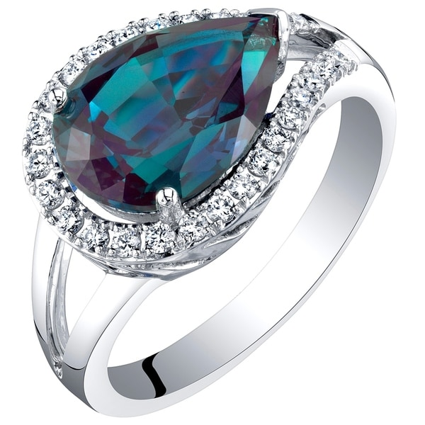 f8db91538496 14K White Gold Created Alexandrite and Lab Grown Diamond Ring 4.02 carats