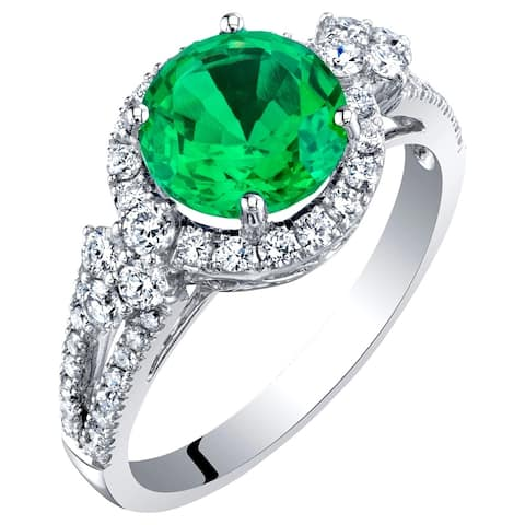 14K White Gold Created Colombian Emerald and Lab Grown Diamond Ring 2.61 carats