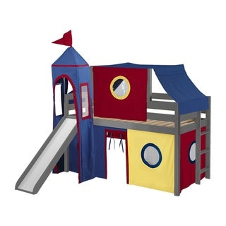 Jackpot Castle Low Loft Bed with Slide Red & Blue Tent and Tower, Loft Bed, Twin, Gray
