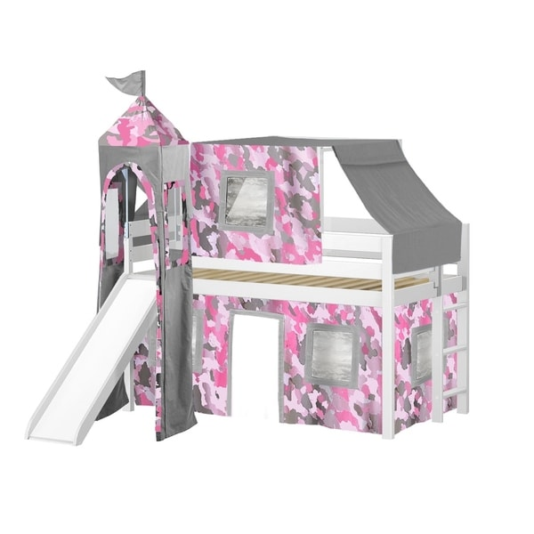 Jackpot Princess White Pine Twin Low Loft Bed with Slide, Pink Camo Tent, and Tower
