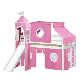 Jackpot Princess Low Loft Bed with Slide Pink & White Tent and Tower, Loft Bed, Twin, White