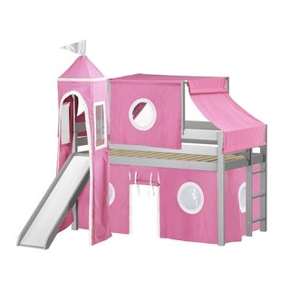 Jackpot Princess Low Loft Bed with Slide Pink & White Tent and Tower, Loft Bed, Twin, Gray
