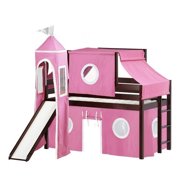 Jackpot Princess Low Loft Bed with Slide Pink u0026&; White Tent and Tower Loft  sc 1 st  Overstock.com & Shop Jackpot Princess Low Loft Bed with Slide Pink u0026 White Tent and ...