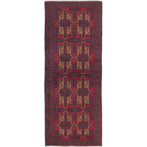 ECARPETGALLERY Hand-knotted Teimani Red Wool Rug - 2'7 x 6'9