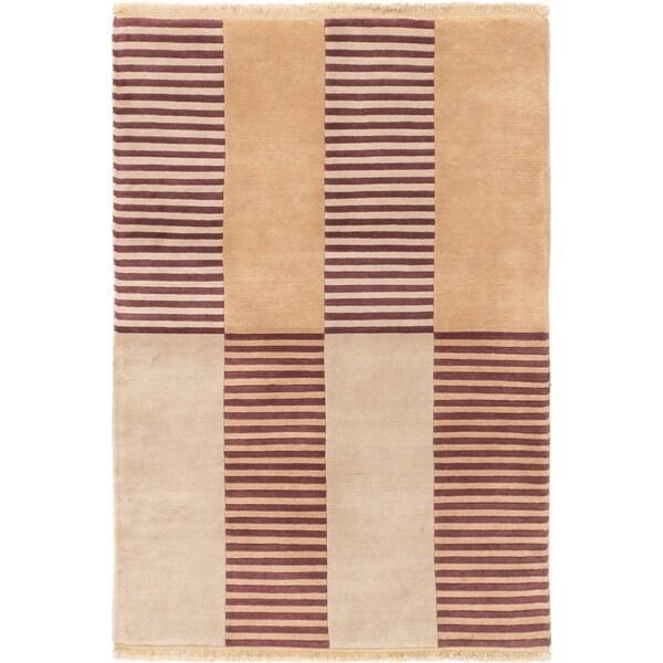 ECARPETGALLERY Hand-knotted Aurora Beige Wool Rug - 4'1 x 5'10