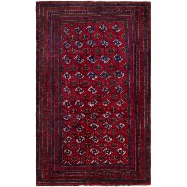 ECARPETGALLERY Hand-knotted Royal Baluch Red Wool Rug - 4'1 x 6'9