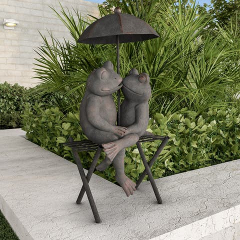 Frog Couple Statue-Resin Romantic Animal Figurine by Pure Garden