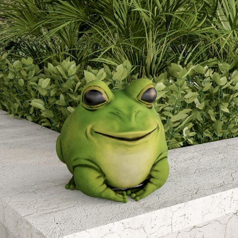Frog Statue-Resin Chubby Animal Figurine by Pure Garden