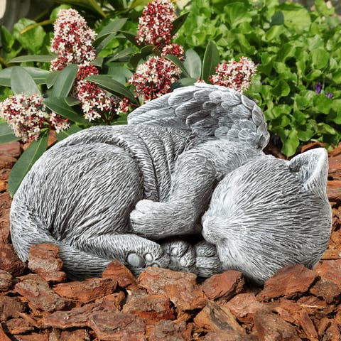 Pet Memorial Statue-Sleeping Angel Cat Remembrance by Pure Garden