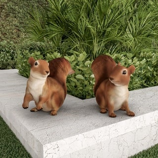 Squirrel Statues-Resin Animal Figurines by Pure Garden (Set of 2)