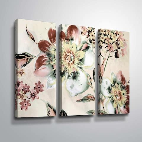 ArtWall 'Summer Flower' 3 Piece Gallery Wrapped Canvas Set